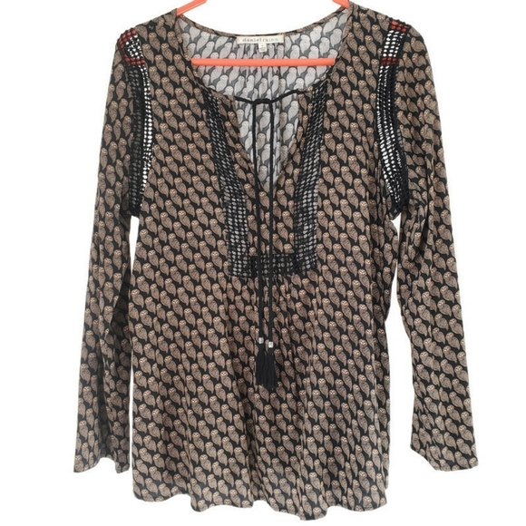 Daniel Rainn Tops - DANIEL RAINN | Tan & black boho peasant owl blouse